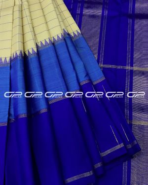 Handloom Pure Kanjivaram Silk Saree  with temple Korvai border