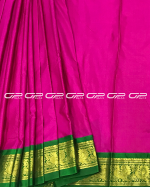 Handloom Pure 9 Yards Silk Saree in dark pink