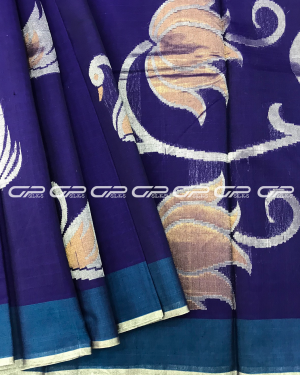Handloom Pure Silk Cotton Saree in indigo blue shade