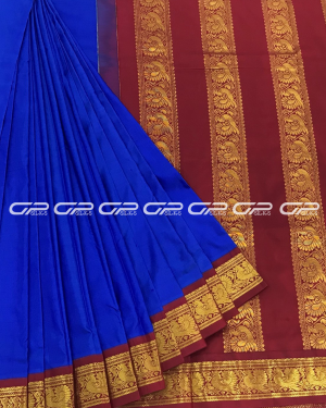 Handloom Pure 9 Yards Silk Saree in ink blue