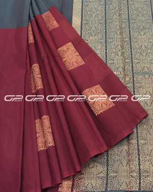 Handloom Pure Silk Cotton Saree in grey shot maroon shade