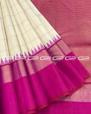 Handloom Pure Kanjivaram Silk Saree in off White Shade