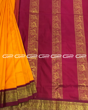 Handloom Pure 9 Yards Silk Saree in turmeric yellow