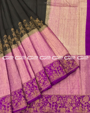 Handloom Banaras Saree in brown shade