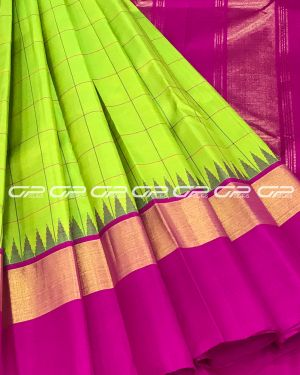 Handloom Pure Kanjivaram Silk Saree in Parrot Green Shade