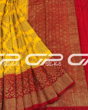 Handloom Banaras Saree in mango yellow shade