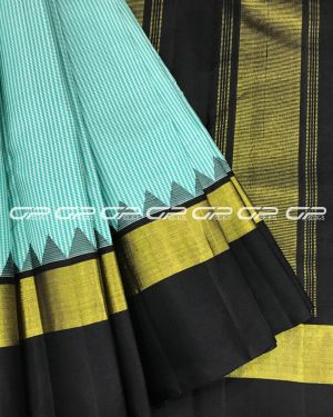 Handloom Pure Kanjivaram Silk Saree in off white with teal shade