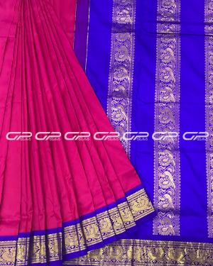 Handloom Pure 9 Yards Silk Saree in magenta shade