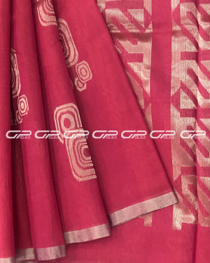 Handloom Pure Silk Cotton Saree in pink shade