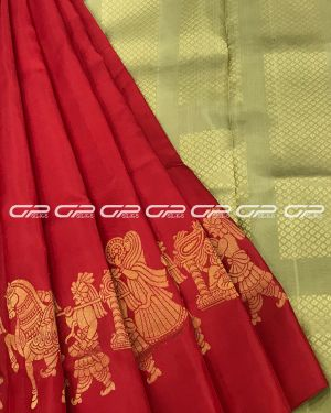 Handloom light weight pure silk saree in red shade