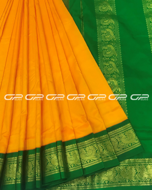 Handloom Pure 9 Yards Silk Saree in mango yellow shade plain body