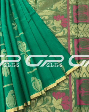 Handloom Pure Silk Cotton Saree in teal green shade