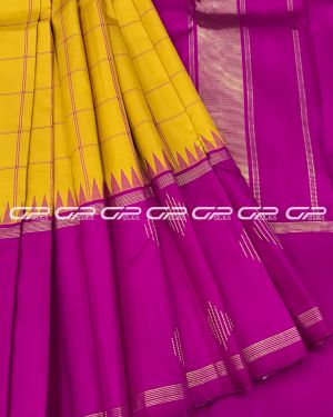 Handloom Pure Kanjivaram Silk Saree in Yellow Shade