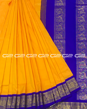 Handloom Pure 9 Yards Silk Saree in mango yellow