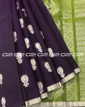 Handloom Pure Silk Cotton Saree in dark violet shade