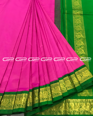 Handloom Pure 9 Yards Silk Saree in lotus pink shade