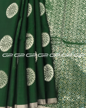 Handloom Pure Silk Cotton Saree in dark green shade