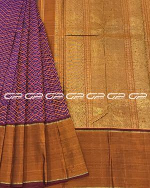 Handloom Kanjivaram pure silk Saree in pure Zari Geometric pattern Rust and blue shade