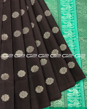 Handloom Light weight Pure Silk Saree in coffee brown shade with floral motif in silver