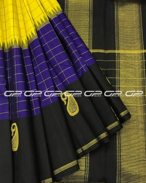 Handloom Pure Kanjivaram Silk Saree in Lime Yellow Shade