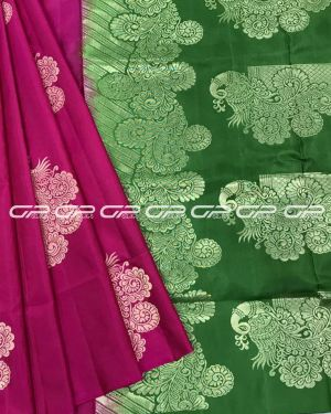 Handloom light weight pure silk Saree in pink in rose petal pink shade body with peacock motif in gold zari