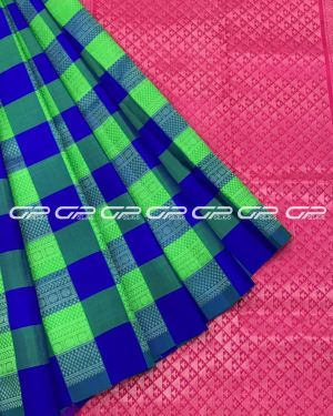 Handloom light weight silk saree in ms blue shade body with checked motif in silver zari