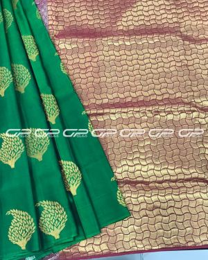 Handloom light weight silk saree in bottle green shade body with geometric motif in gold zari