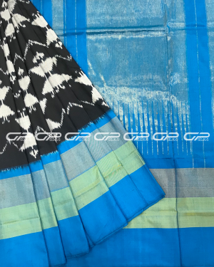 Handloom Pure Pochampally Silk Saree in black shade