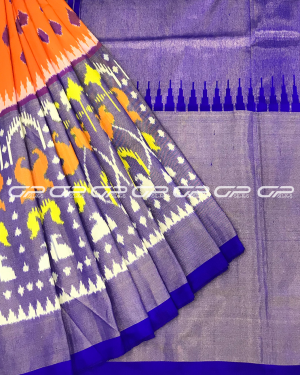 Handloom Pure Pochampally Silk Saree in orange shade