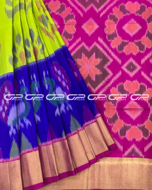 Handloom Pure Pochampally Silk Saree in lime green with pink shade