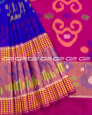 Handloom Pure Pochampally Silk Saree in blue shade