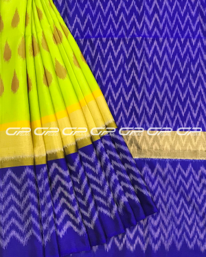 Handloom Pure Pochampally Silk Saree in lime green shade