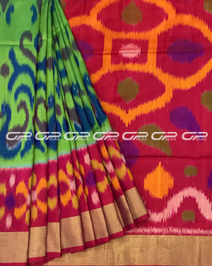 Handloom Pure Pochampally Silk Saree in light green shade