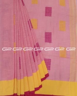 Handloom pure cotton sarees in Baby Pink shade.