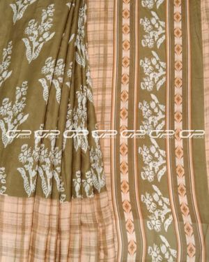 Handloom Pure linen saris in olive green shade.