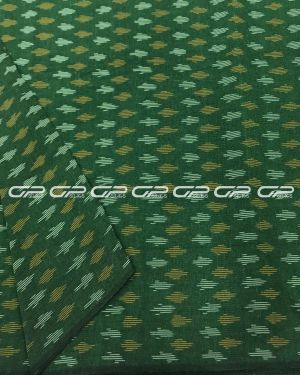 Pure ikat material in Green colour in mustard and white shade