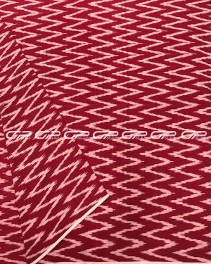 Pure ikat cotton material in red colour and white shade