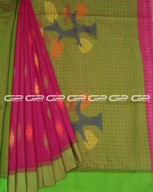 Handloom pure cotton sarees in Red orange shade.