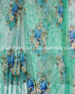 Handloom Pure linen saris in turquoise blue shade.