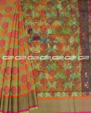 Printed saris in Green shade With Floral Motif.