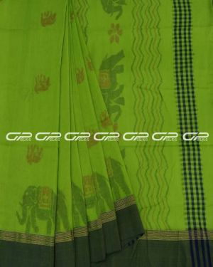Handloom pure cotton sarees in Leaf green shade.