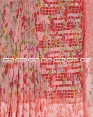Handloom pure Linen saris in Peach shade.
