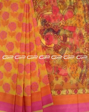 Printed saris in Yellow shade with floral motif