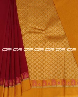 Handloom pure silk cotton sarees in Red and mustard shade.