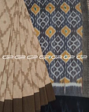 Handloom pure cotton sarees in chikoo shade.